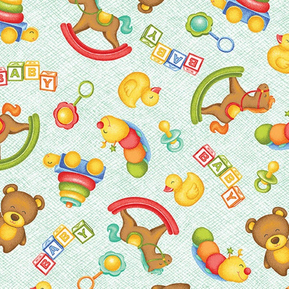 MIRACLE Coupon fabric cotton patchwork A MIRACLE Toys aqua green x1m