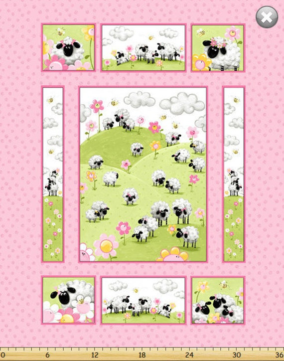 Large SUSYBEE fabric Panel cotton patchwork World Of Susybee Bunny and Friends 72x110cm