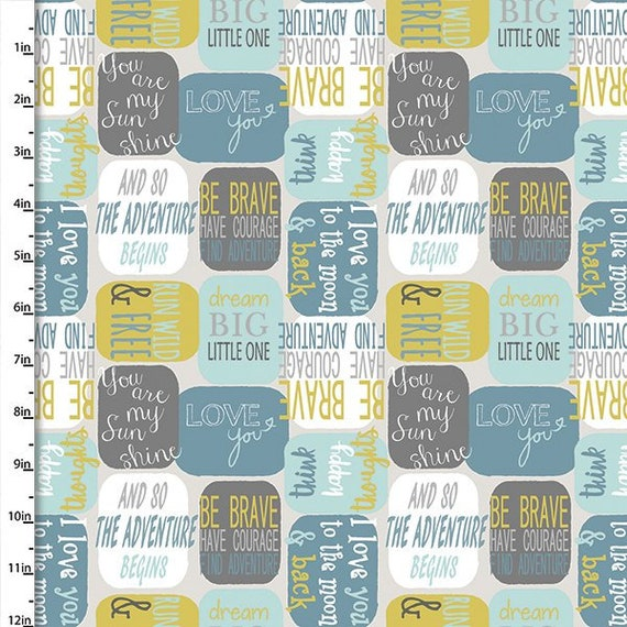 SAFARI PALS fabric cotton patchwork Messages turquoise grey white and mustard on gray x 50 cm