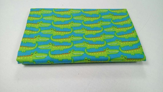 FUN WITH NATURE fabric Coupon cotton patchwork mini green crocodiles on a blue background 50x55cm