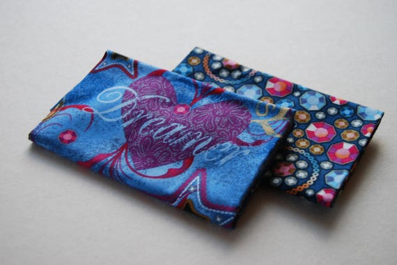 Set of 2 fabric Coupons coupon cotton patchwork diamonds and DENIM blue and pink