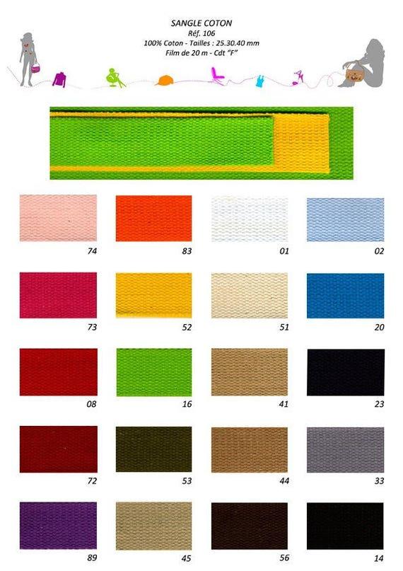 Simple 25 mm, 20 color cotton webbing