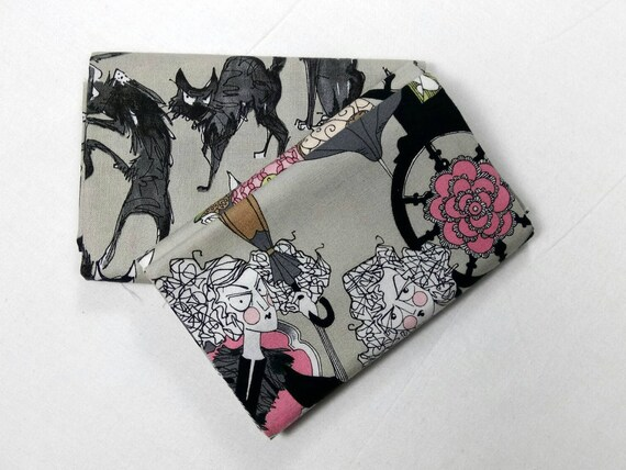 GHASTLIE set of 2 fabric by Alexander Henry Ghastlie Family 30s GREY 50X55CM Coupons