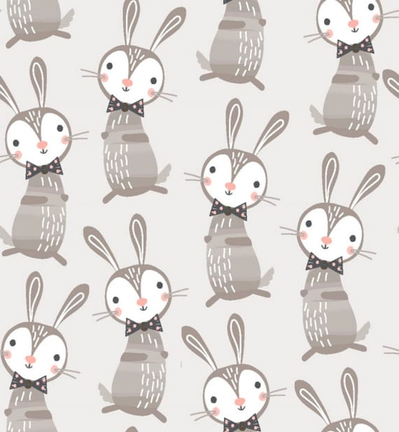 GOOD NIGHT FOREST fabric cotton patchwork Brown grey rabbit on a light gray background x 50 cm