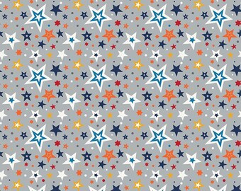 PLAY BALL cotton fabric patchwork star sizes on x35cm gray background