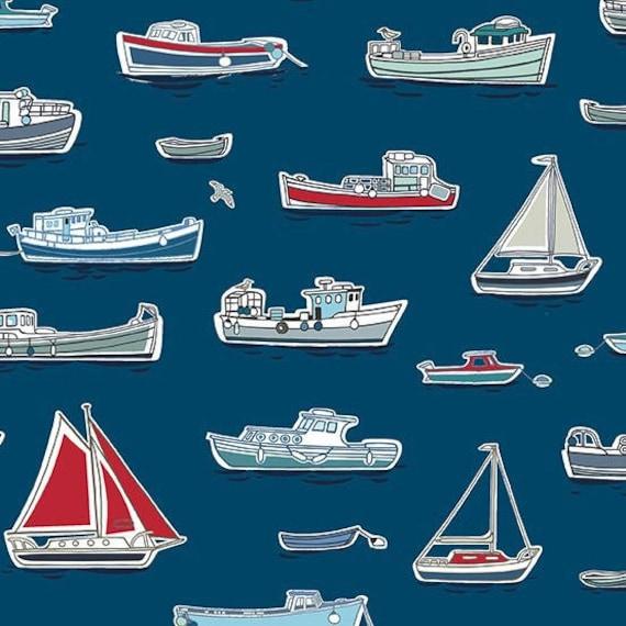 MARINA tissue cotton patchwork x50cm blue Boats MARINA