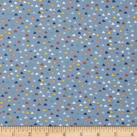 BABY JUNGLE fabric cotton patchwork Baby Jungle multicolored triangles on blue x50cm