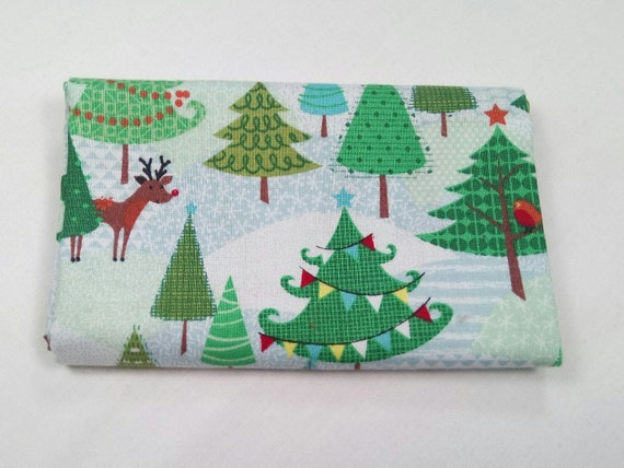 FROSTY fabric Coupon cotton patchwork FROSTY TREES forest 50x55cm Christmas trees