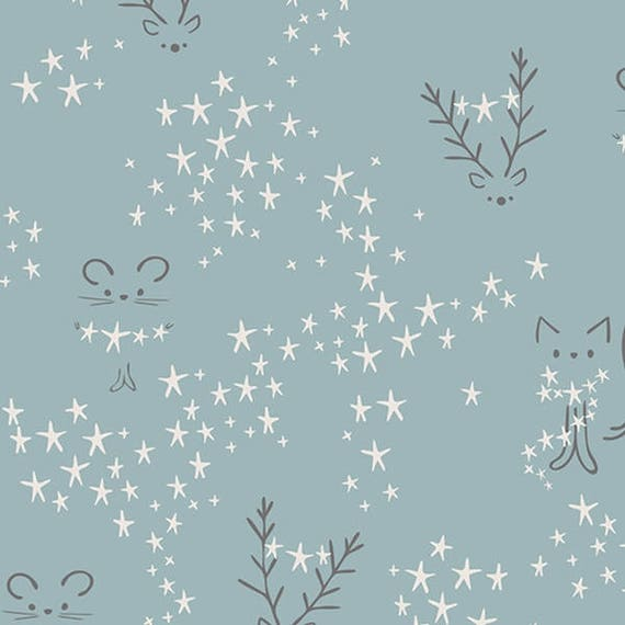 LITTLE TOWN fabric cotton patchwork Starbright Fog cats and ice blue x50cm