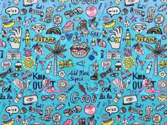 Cotton fabric sewing printed designs of fashion accessories and artistic flashy blue x50cm
