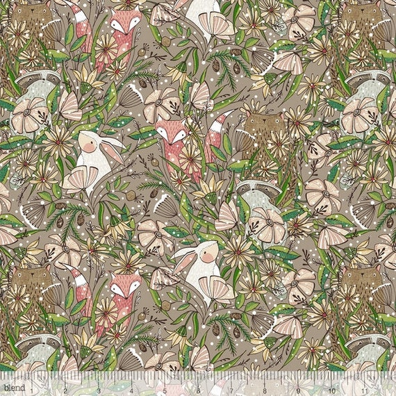 WINTER NEWS fabric cotton patchwork Winter Taupe animals Frolicking among the flowers x50cm