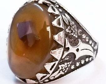 unique solaimani 925 sterling silver ring genuine 100/% yemen agate aqeeq stone