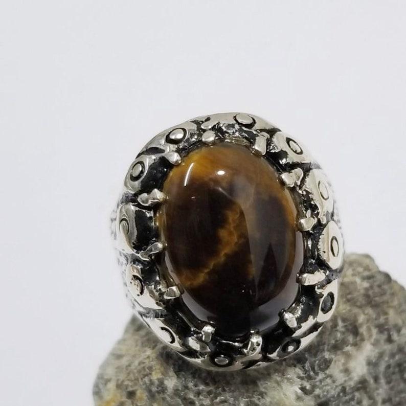 925 jewelry handmade arabic turkey ottoman style any size tiger eye semi precious natural stone men ring sterling silver