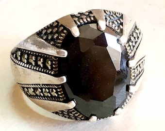 WOMANS - MENS handmade 925 sterling silver ring black zircon stone middle eastern jewelry mens rings