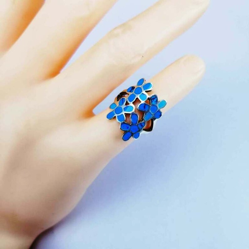 flower Women/'s Sterling Silver Ring natural blue senai \u0641\u064a\u0631\u0648\u0632 \u0633\u064a\u0646\u0627\u0648\u064a 925 Sterling Silver Ring Womens Silver Rings Womens Silver feroza  Ring