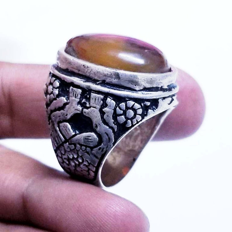 antique yemeni 925 sterling silver ring genuine natural 100/% agate aqeeq yemen