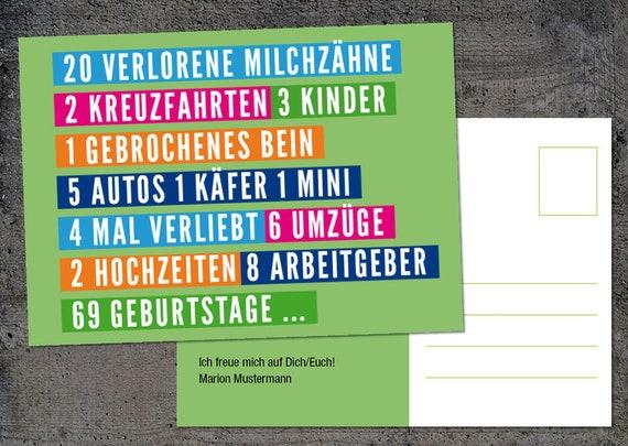 Einladung Zum 70 Geburtstag Karte Im Postkarten Format Etsy