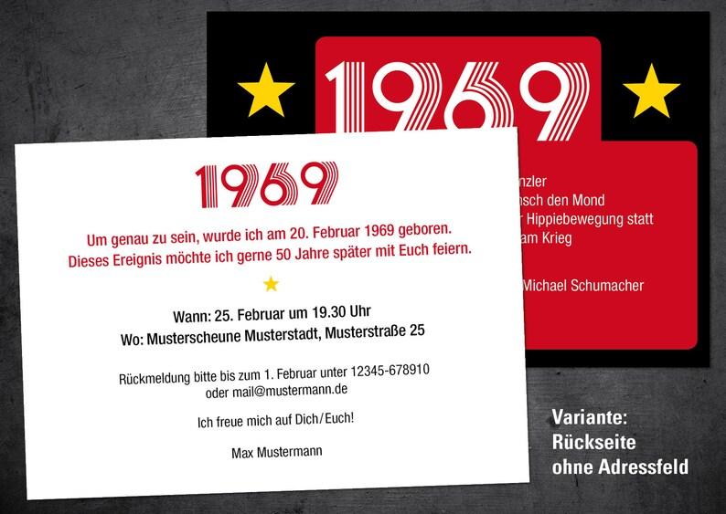 Einladungskarten 50 geburtstag 1969