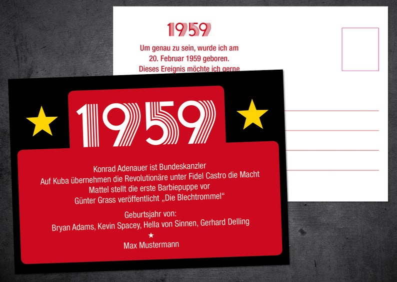 60th Birthday Invitation Postcard In A4 Format Front Back