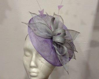 "Fascinator wedding leaves bluish gray, lilac purple base, model ""Leaves"""