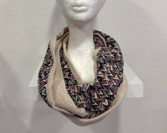 Silk multicolored stripes and solid ivory angora wool Snood