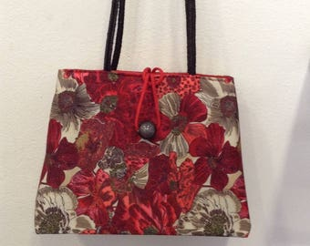 "Crossbody bag Designer ""poppies"" in taupe and Red cotton canvas, leather handles"
