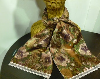 Scarf Brown, pink flower print, lined with silk