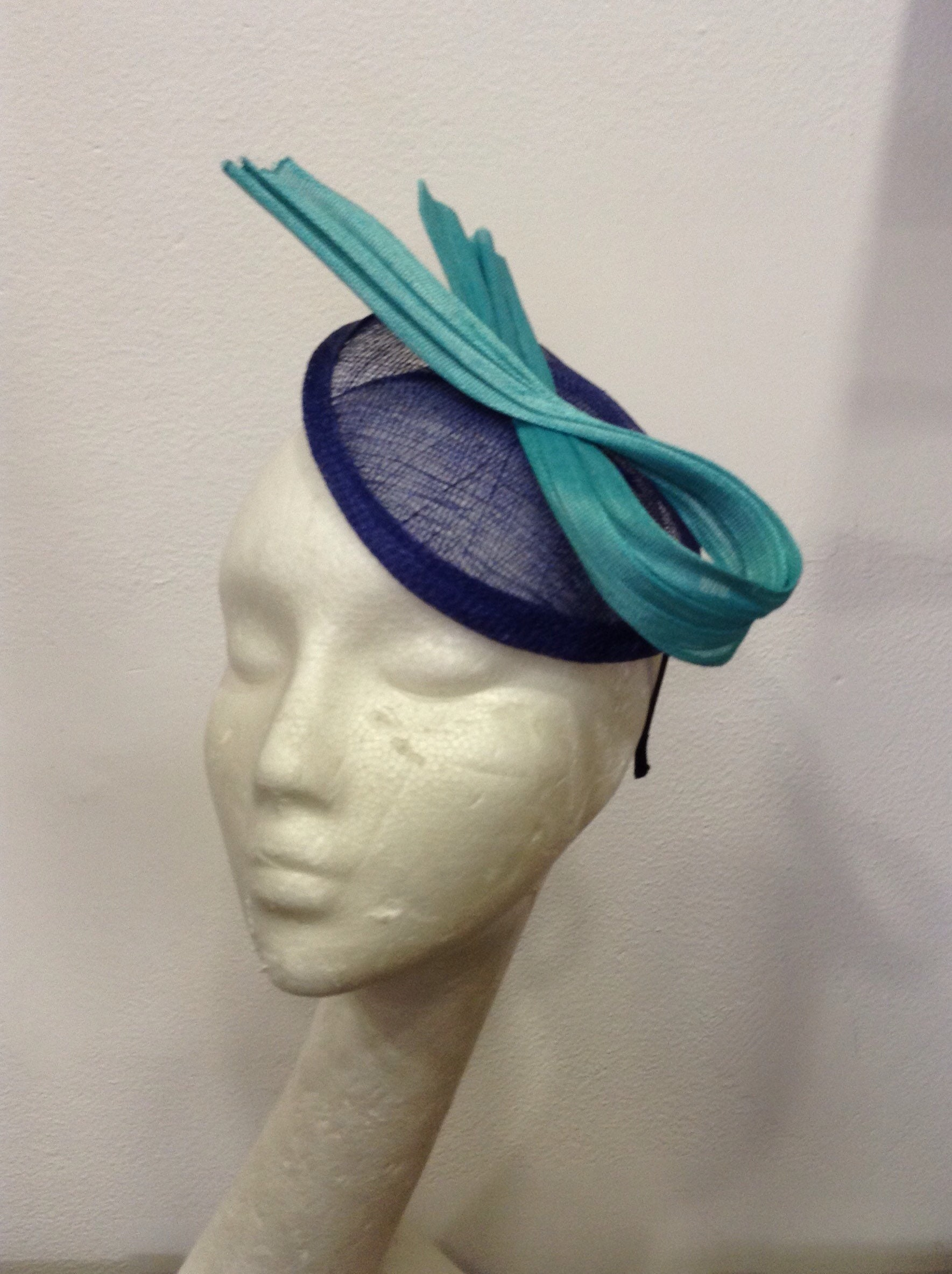 Navy Blue and teal fascinator lagoon night blue and turquoise  f295bb8c0ac