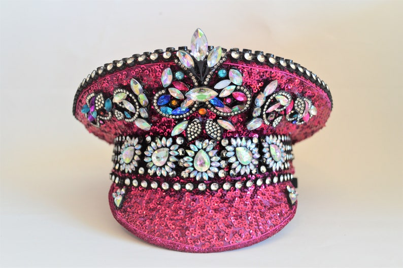 dd1320183 Pink Sequin and Rhinestone Burning Man costumes Military Captain Hat Custom  made Festival hat,Captains hat