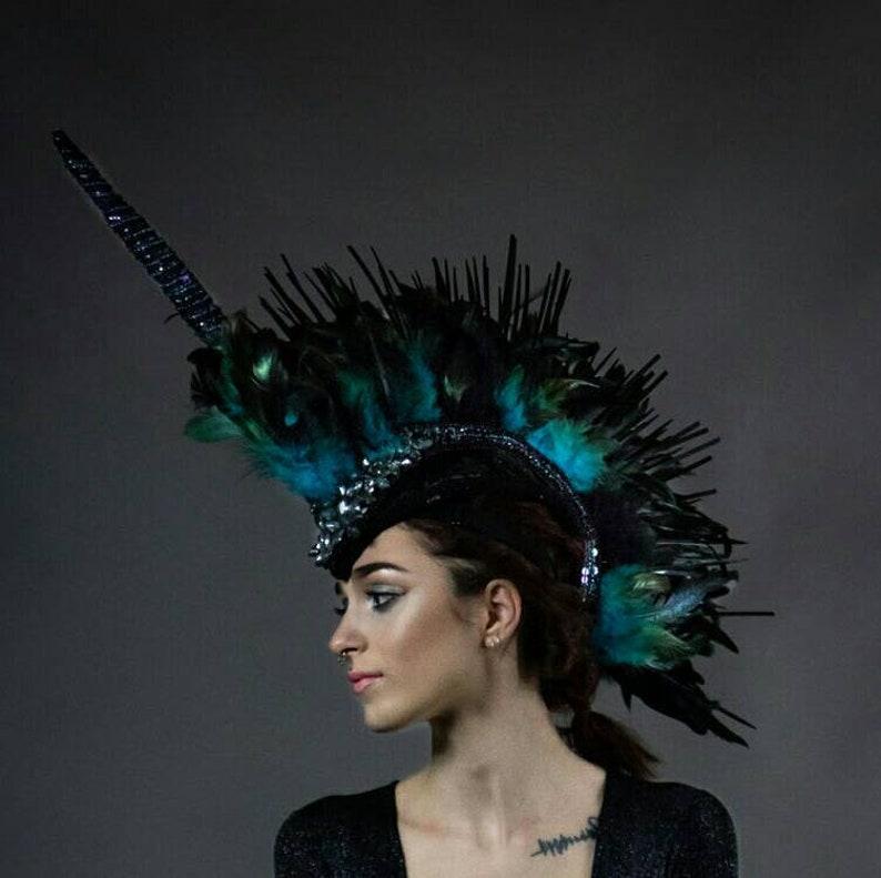 2b0bd986235ee Custom made to order Unicorn horn Mohawk Feather headdress
