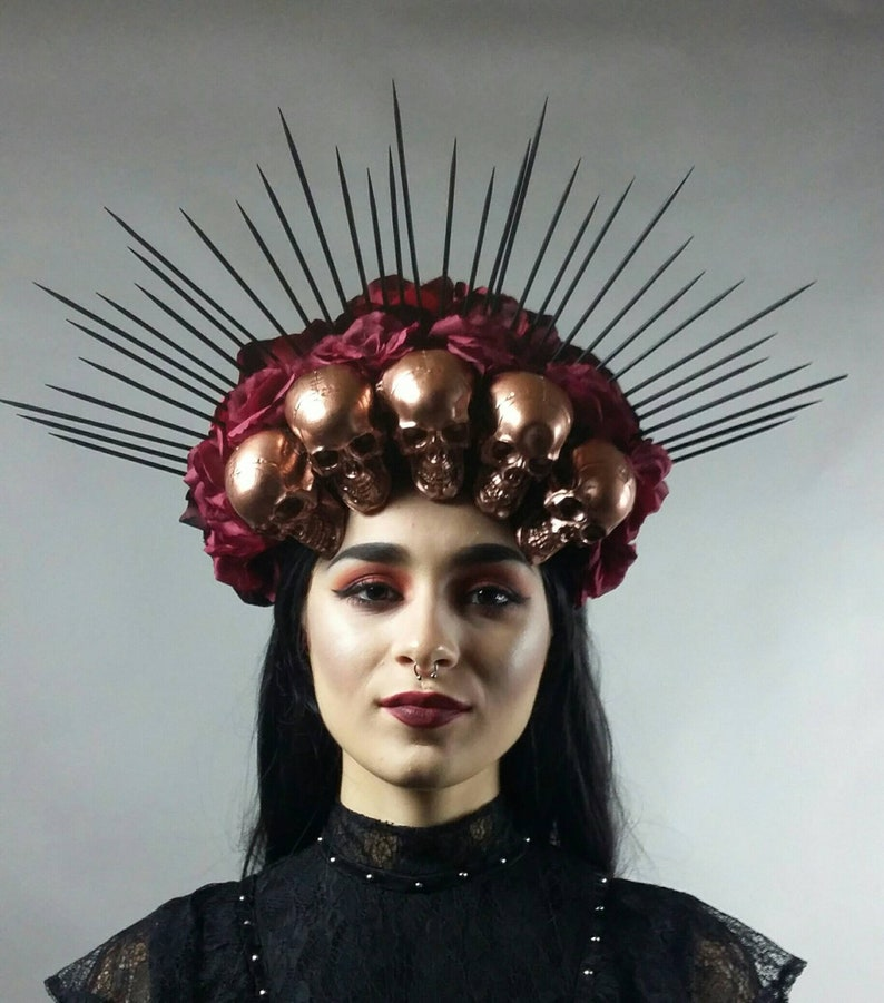 e1ad8d8b6e41f Spiked Gothic Headdress Halo Crown Red flower crown Sugar
