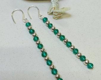 Handmade long red earrings