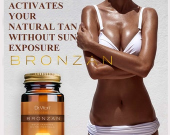 100% Natural, BRONZAN Capsules for accelerated tanning (nutritive formula for natural irresistible and intensive golden bronze tan all year)