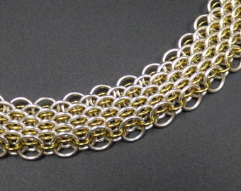 Silver Filled and Golden Niobium Dragon Scale Necklace