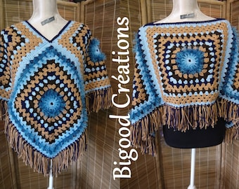 Poncho made crochet blue and Brown