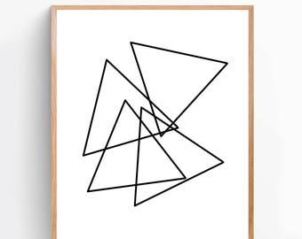 Impresión del arte de triángulos, impresión moderna, decoración dormitorio, cartel, regalo para hombres, regalos para mujeres, decoración casera, arte de pared, imprimir [GR12A]
