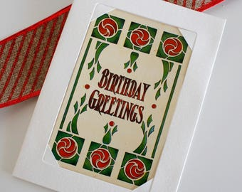 Card with Original Vintage 1914 Postcard - Geometric stylized roses, Art Nouveau style, red and green - Birthday Greetings, Happy Birthday