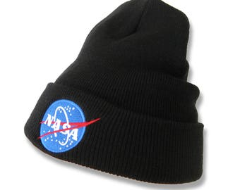 NASA MEATBALL Logo Embroidered Patch Ribbed Cuffed Knit Beanie 1545K-MEATBALL