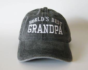 42ae8b26b26 World s Best Grandpa Cap grandpa cap embroidered cap baseball cap dad cap