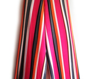 Elasticated stretch fabric panty, Multicolored striped pants,woman pant