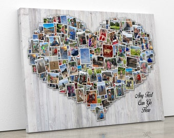 HEART COLLAGE CANVAS Picture Photo Pictures Framed Photo Distressed Vintage Wood Effect Birthday Personalised Present For Him Her