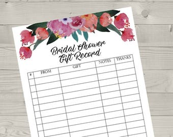 printable bridal shower gift registry gift record list list of gifts received gift registry bride and groom record of gifts