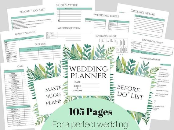 wedding planner diy wedding planner pages printable wedding etsy