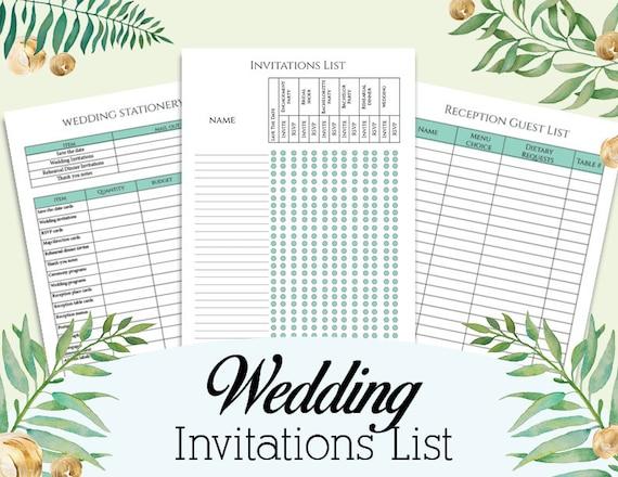 Wedding Invitation Checklist: Wedding Invitations List Wedding Guest Invitations