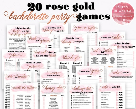 photo about Printable Party Games identified as 12 Rose Gold Bachelorette Social gathering Online games, Printable Bachelorette Occasion Sport, Bridal Shower Recreation, Hens Night time Recreation