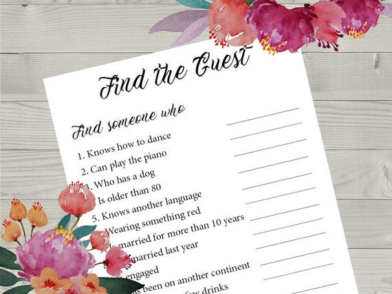 Find The Guest Printable Wedding Game Wedding Reception Game Etsy