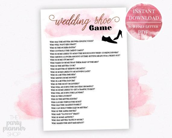 Wedding Shoe Printable Game, Rose Gold Wedding Shoe Game Questions, Rose  Gold Wedding Games