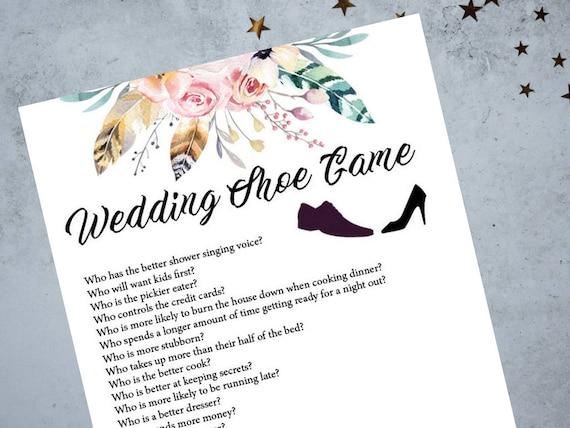 Wedding Shoe Reception Game Printable Game Wedding Shoe Game Etsy
