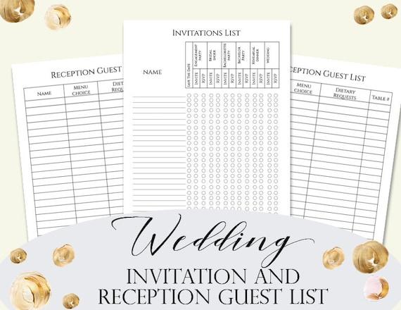 Wedding Invitation Checklist: Wedding Guest Invitation List Wedding Invitations