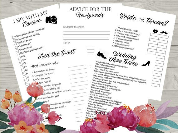 5 Wedding Reception Games Printable Wedding Reception Game Etsy